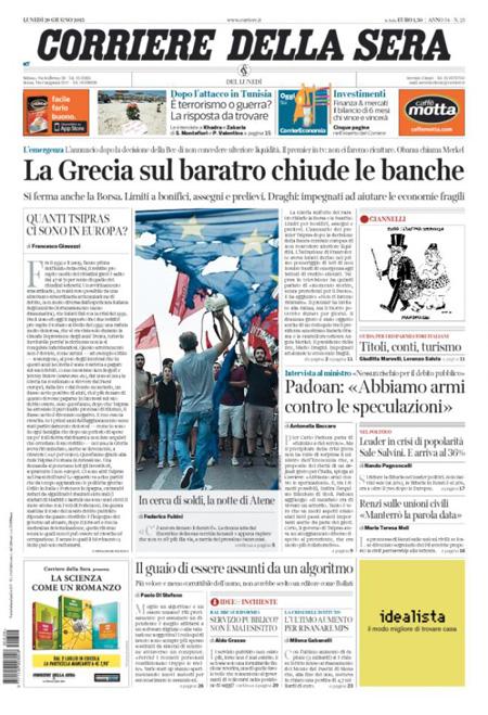 Corriere della Sera del 29 giugno 2015