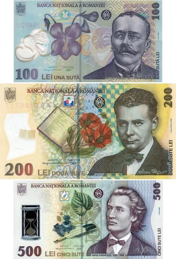 Banconote della Romania da: 100 leu - 200 lei - 500 lei