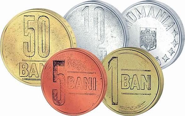 Monete della Romania: 1 ban; 5 bani; 10 bani; 50 bani.