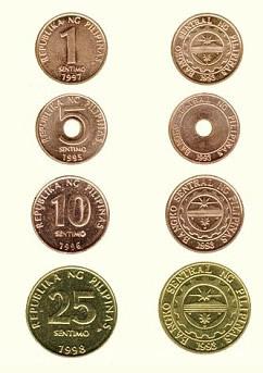 Monete (centesimi) che formano il peso filippino meno utilizzate