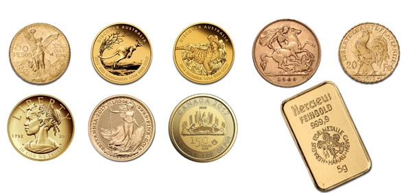 Comprare monete, barrette e lingotti d'oro