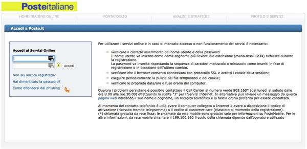 Trading online con BancoPosta, area riservata