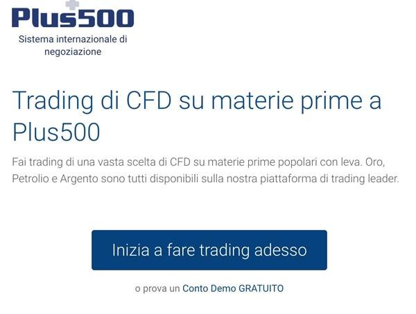 Plus500, piattaforma trading commodities