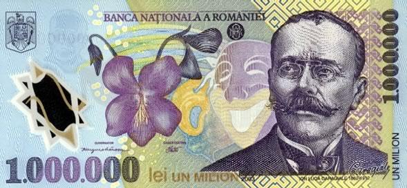 Vecchia Banconote della Romania da 1.000.000 di lei