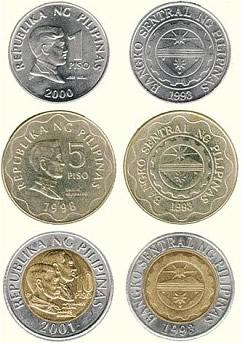 Monete che formano il peso filippino più usate